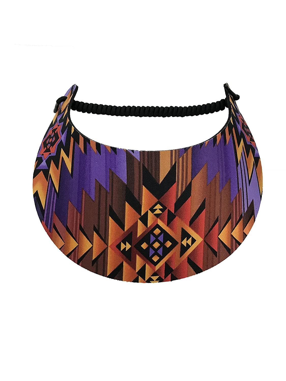 Pickleball No Pressure /& No Headache! Fashion Fabric Foam Sun Visor For Women -The Sporty Look Orange//Purple//Black Southwest Print Design Adjustable To Any Size Head