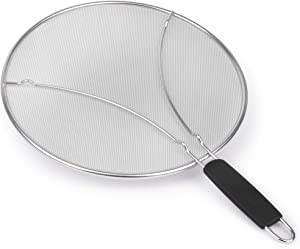 Oil and Grease Splatter Screen - Guard for Skillet Frying 13 inch Extra Fine Splatter Screen Mesh Stops 99% of Grease Pops and Splattering; Protective Feet, Safe Handle and Wall Hook.