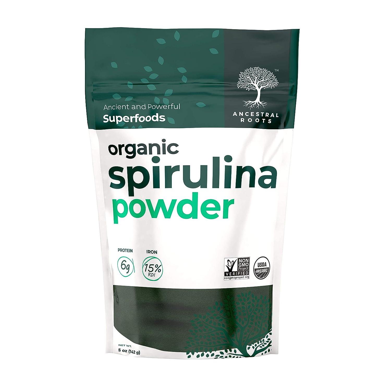 Ancestral Roots Organic Spirulina Powder - 100% Pure, USDA Certified Organic Spirulina Powder -5oz