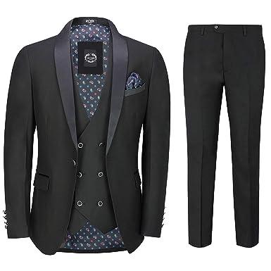 961d2798d38 Xposed Mens Black 3 Piece Tuxedo Suit Wedding Formal Tailored Fit Dinner  Jacket Blazer[S45