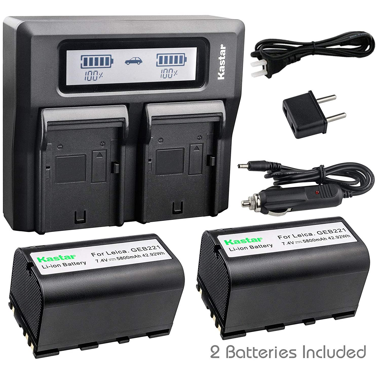 Kastar バッテリー LCD デュアル高速充電器 CH08-GEB221-a GEB221 2 Batteries + 1 Charger  B07HGPNM33