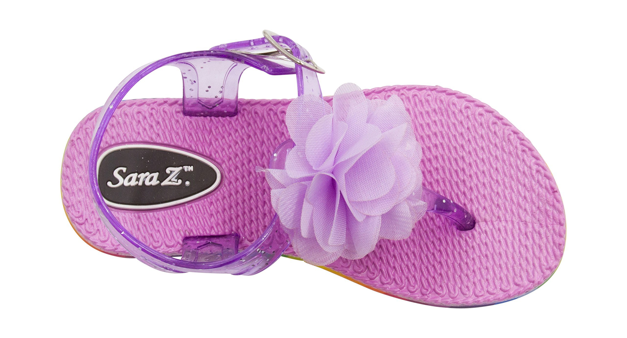 Sara Z Toddler Girl's Jelly Thong Slingback Flat Sandal with Chiffon Blossom With Flower 11/12 Lilac