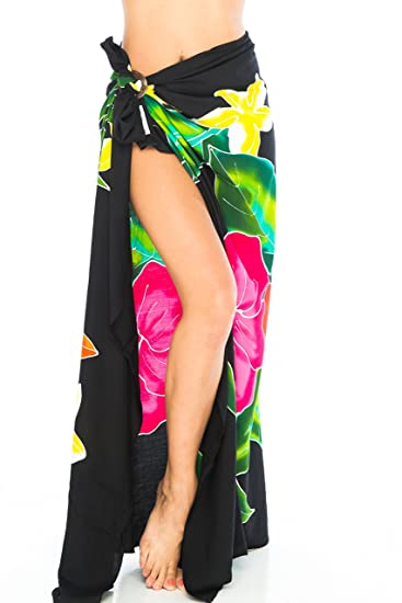 3f109b405 Back From Bali Sarong Wrap Hand Painted Coconut Clip Womens Beach Swimsuit  Cover up Hibiscus Black