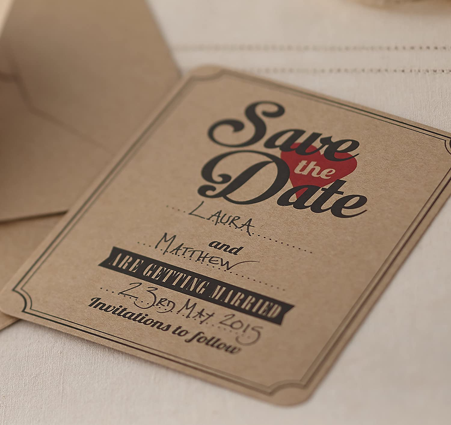 Ginger Ray Brown Kraft Save The Date Wedding Cards / Invitations ...