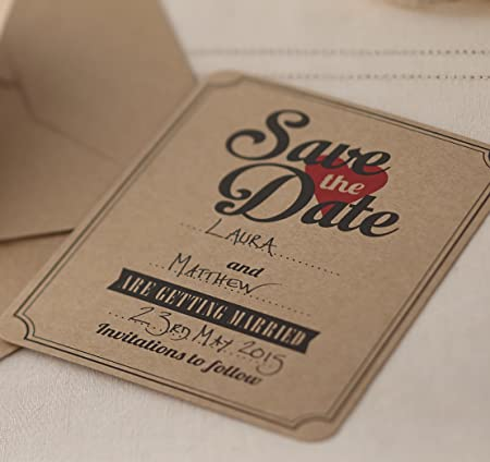 ginger ray Invitaciones de Boda Brown Kraft Save The Date: Amazon ...