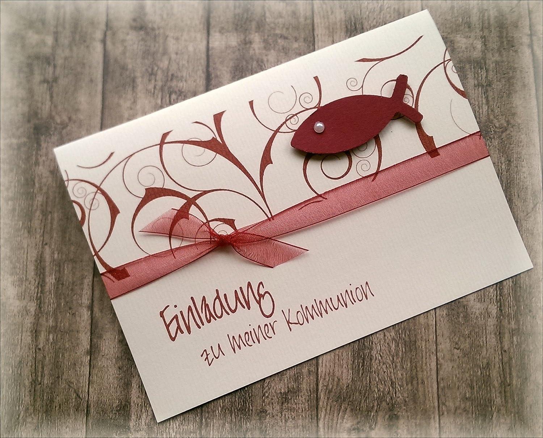 Einladung einladungskarte kommunion konfirmation firmung taufe fisch dunkelrot bordeaux weinrot rot amazon de handmade