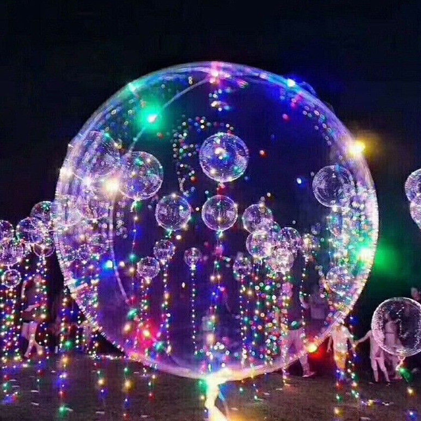 LED Light Up Balloons, Luminous Transparent Fillable Colorful Floating Balloon, Perfect for Birthday,Wedding, Holiday, Special Occasion and Event Decoration (100)