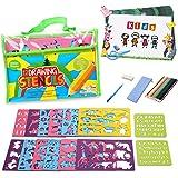 Lenbest Kit di Stencil e Disegno, Kit Completo per Bambini, Oltre 200 Forme con 12 Stencil Grandi e 2 Piccoli, 12 matite Colorate e 1 Matita portamine, Giocattolo educativo per Bambini