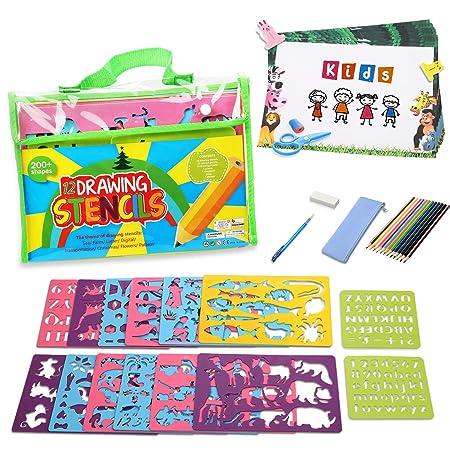 Lenbest Zeichenschablonen Kinder Set, Schablonen DIY Gemälde Kit, Reiseaktivität und Lernspielzeug zur Förderung der Kreativi