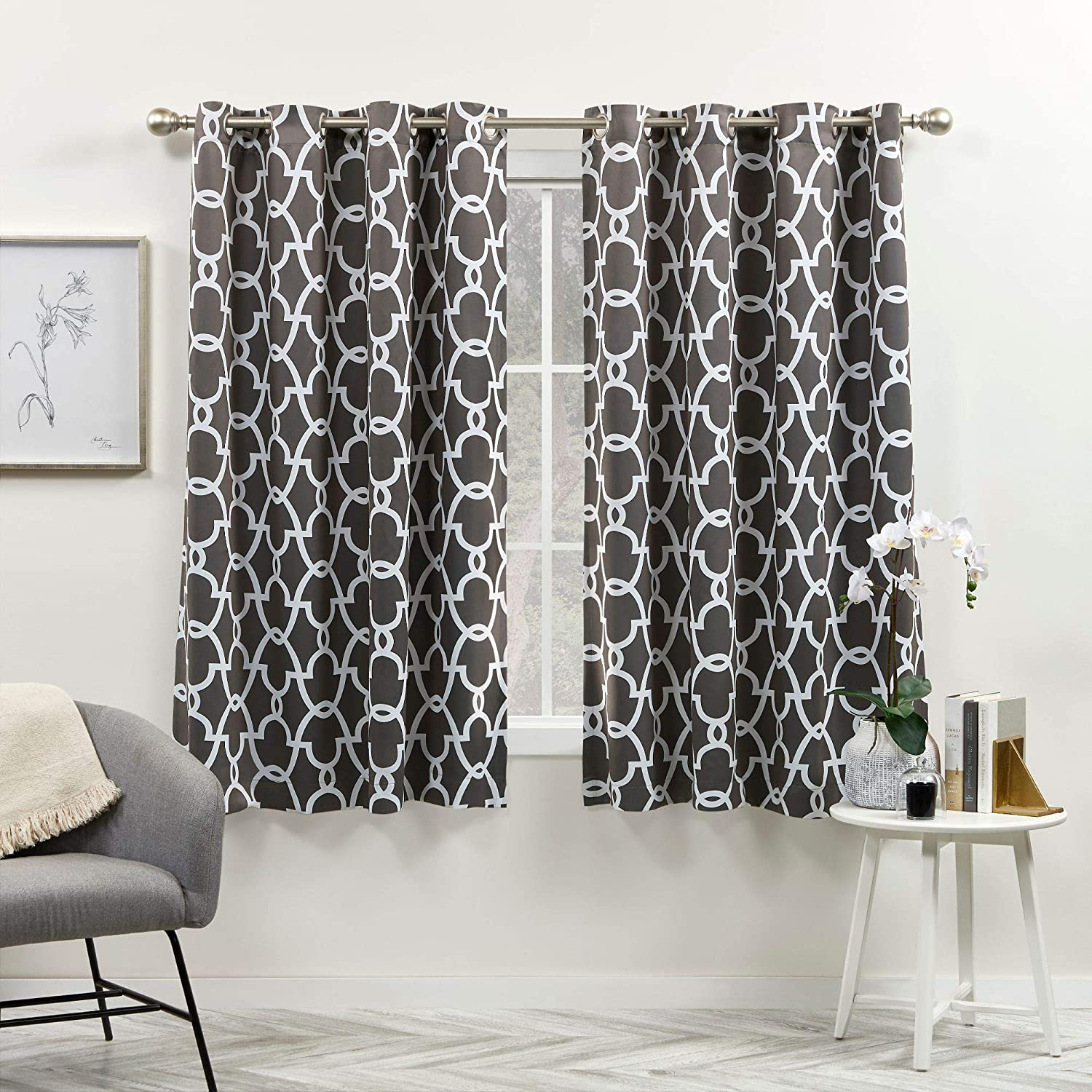 Exclusive Home Curtains Gates Sateen Blackout Thermal Window Curtain Panel Pair with Grommet Top, 52x63, Black Pearl, 2 Piece