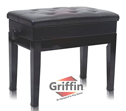 Merveilleux Premium Adjustable Antique Piano Bench By Griffin U2013 Black Solid Wood Frame  U0026 Luxurious, Comfortable