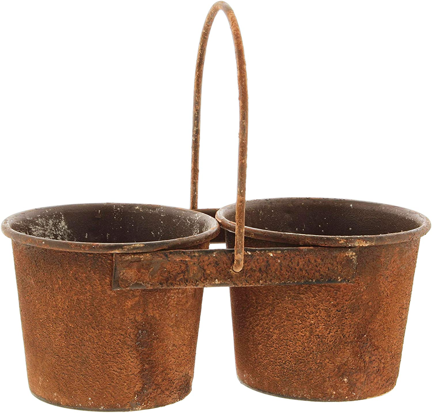 Amazon Com Faux Rusted Metal Planter With 2 Pots Garden Outdoor