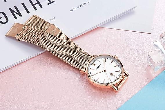 Amazon.com: SINOBI Creative Design Simplicity Women Watch Elegant Diamond Mesh Band Women Watches Ladies Wristwatch (S9709L-Rosegold&Black-Calendar): ...