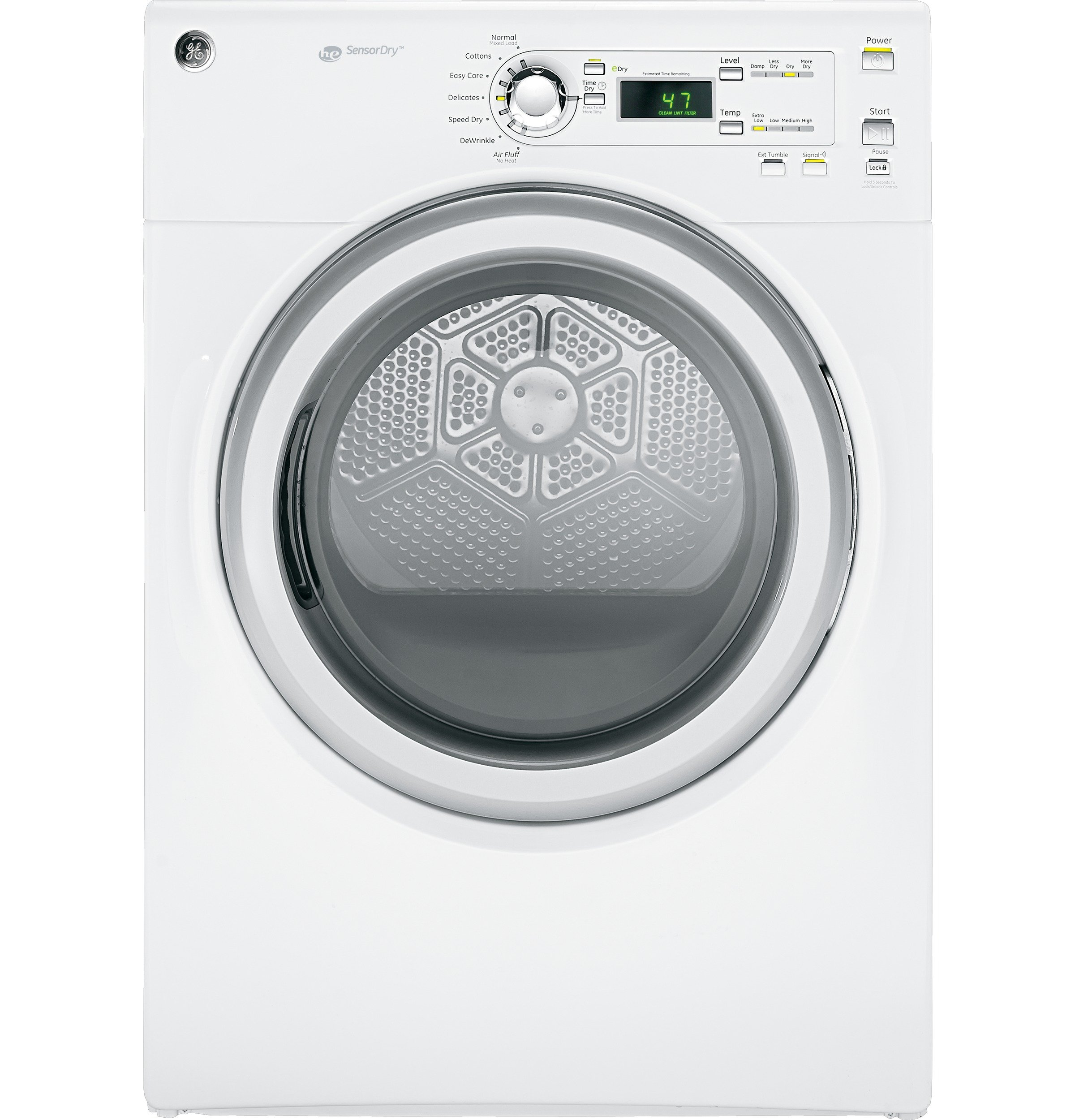 GE GFDN120EDWW 7 Cu.Ft. Electric Dryer with 7 Cycles and Reversible Door, White