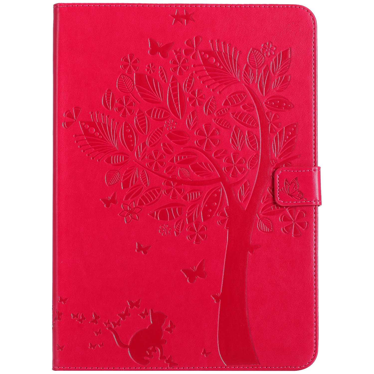 Bear Village iPad 2017 / iPad 2018 (9.7 Inch) Case, Leather Magnetic Case, Fullbody Protective Cover with Stand Function for Apple iPad 2017 / iPad 2018 (9.7 Inch), Red