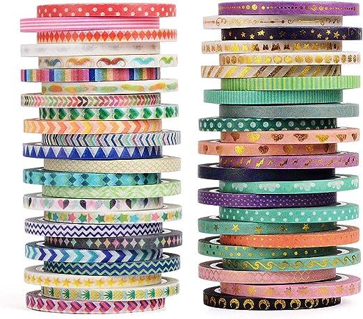 Suministros para Envolver Regalos 48 Colores Oficina /álbumes de Recortes CUTEWASHII Cinta Decorativa Washi de 48 Rollos de Cinta Adhesiva de 15 mm de Ancho para Bricolaje Fiesta