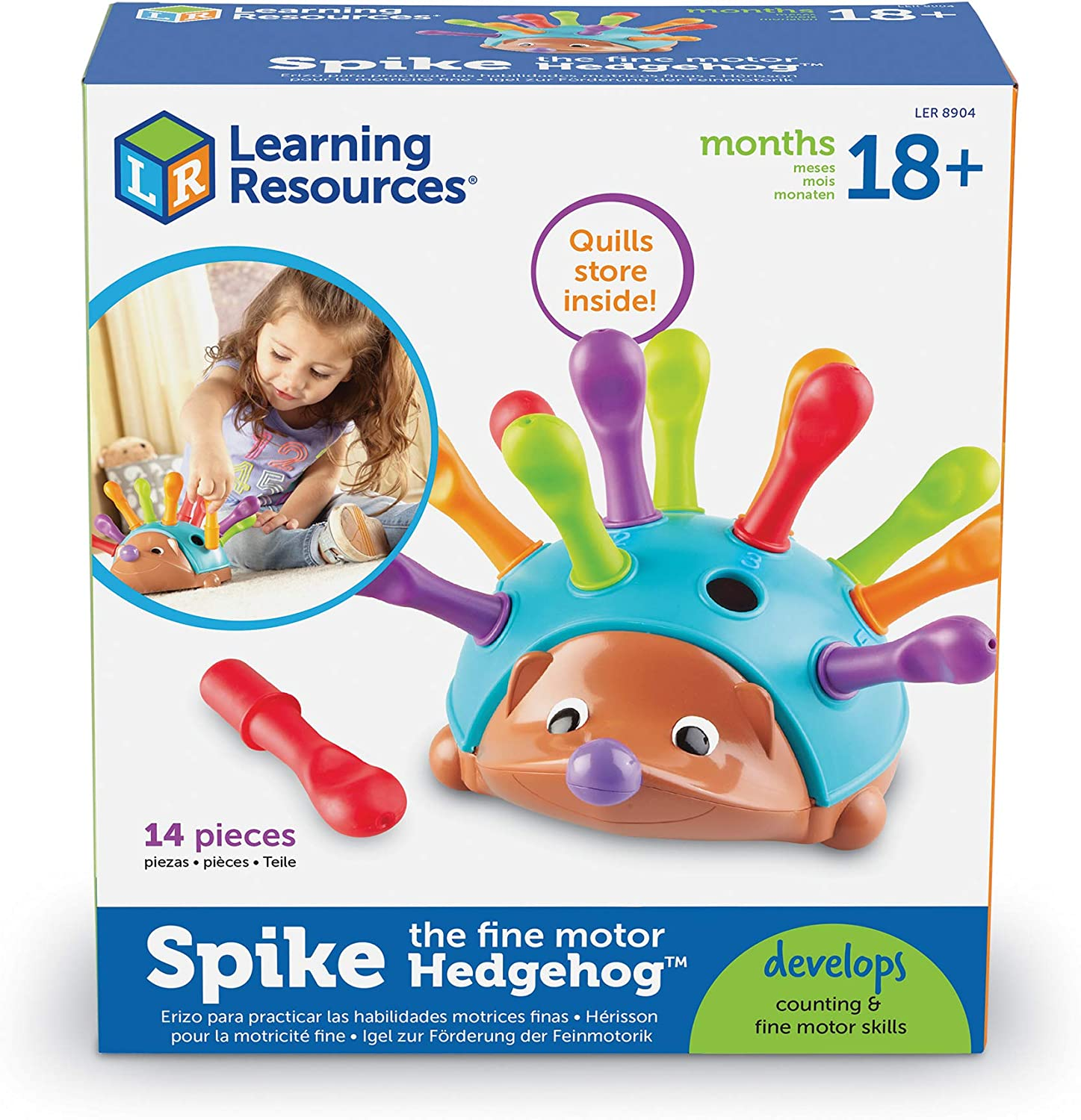 Learning Resources Spike the Fine Motor Hedgehog, Sensory, Fine Motor Toy, Hedgehog Toys for Toddler, Easter Gifts for Kids, Ages 18 months+