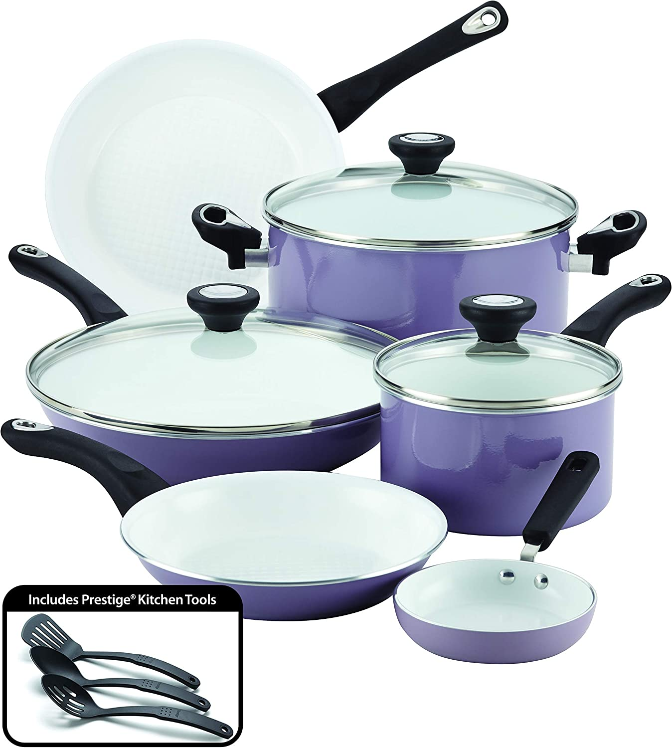 Farberware PURECOOK Ceramic Nonstick Cookware 12-Piece Pots and Pans Cookware Set, Lavender