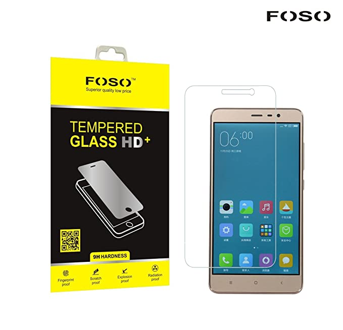 Foso FOSO_TG25_XINOTE3 Xiaomi Redmi Note 3 Pro + 9H Hardness Toughened Tempered Glass Screen Guard Protector Screen guards at amazon
