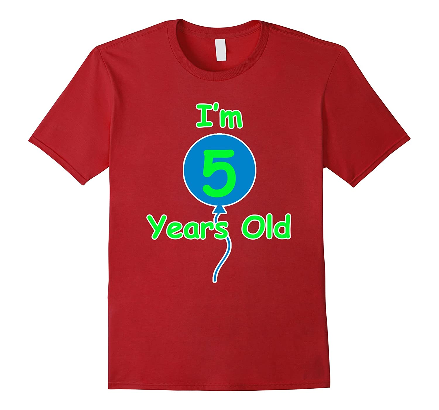 5th Birthday Gift I'm 5 Years Old T-Shirt Party Boy Girl-TH