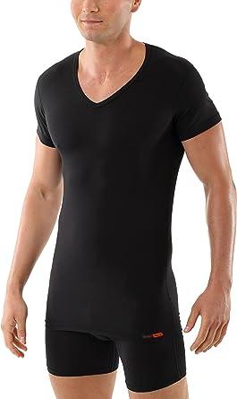 ALBERT KREUZ Camiseta Interior Negra para Hombre con Cuello de Pico, de Manga Corta y de algodón elástico