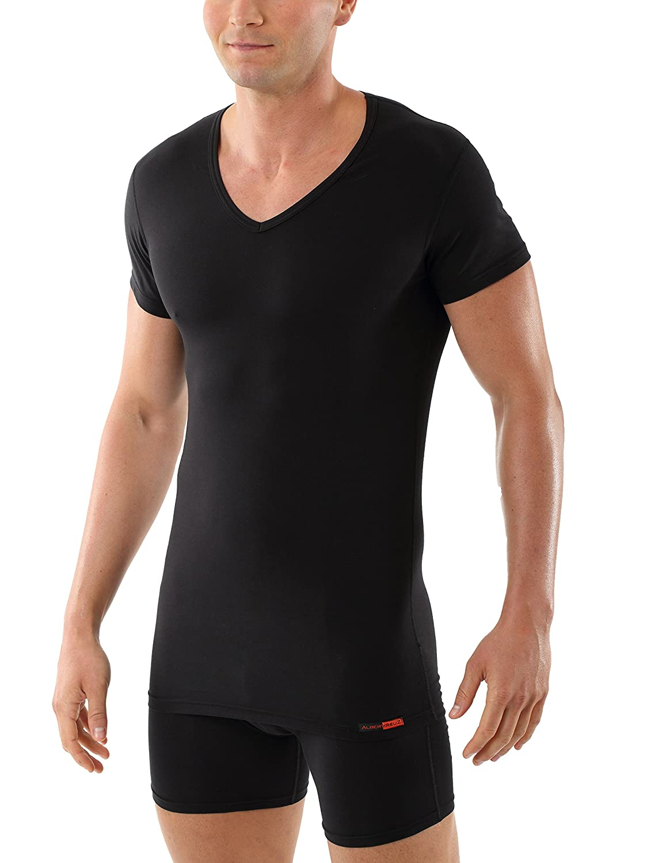 ALBERT KREUZ Maglietta intima nera - scollo a v - maniche corte - cotone elasticizzato - slimfit 102200-BE2