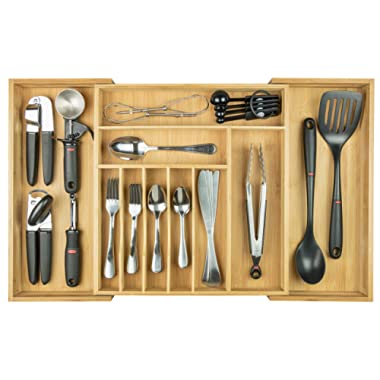 KitchenEdge Premium Silverware, Flatware and Utensil Organizer for Kitchen Drawers, Expandable to 28 Inches Wide, 10 Compartments, 100% Bamboo