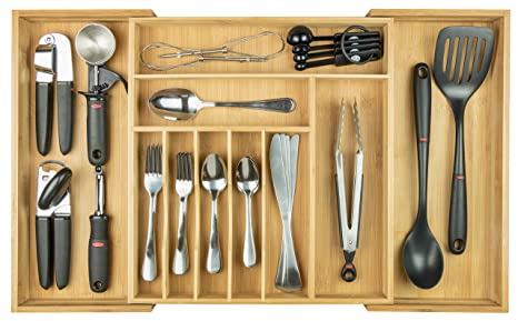 Kitchenedge Premium Silverware Flatware And Utensil Organizer For Kitchen Drawers Expandable To 28 Inches Wide 10 Compartments 100 Bamboo