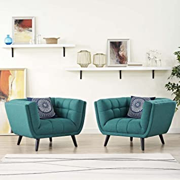 Modway Bestow Mid-Century Modern Upholstered Fabric Living Room Armchairs,  2 Piece, Teal