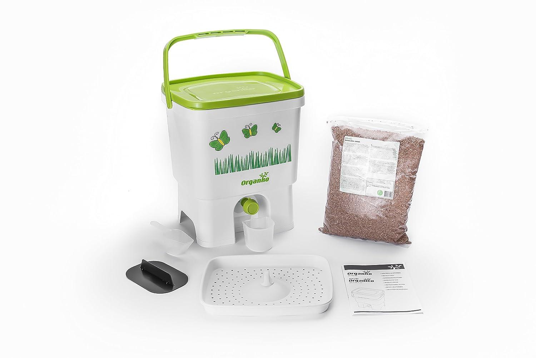 Organico Bokashi Pattumiera con Biogen per compost per rifiuti da cucina, per eliminare i microrganismi (Bianco / Lime) Plastika Skaza d.o.o.
