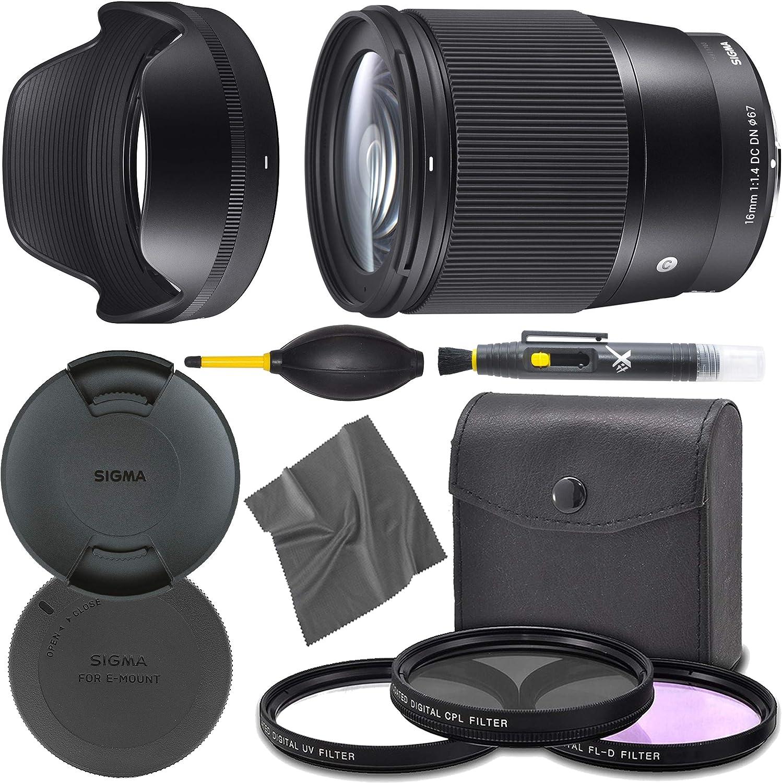 Sigma16mm f/1.4 DC DN: (402965) Contemporary Lens for Sony E + AOM Pro Starter Bundle Kit - International Version
