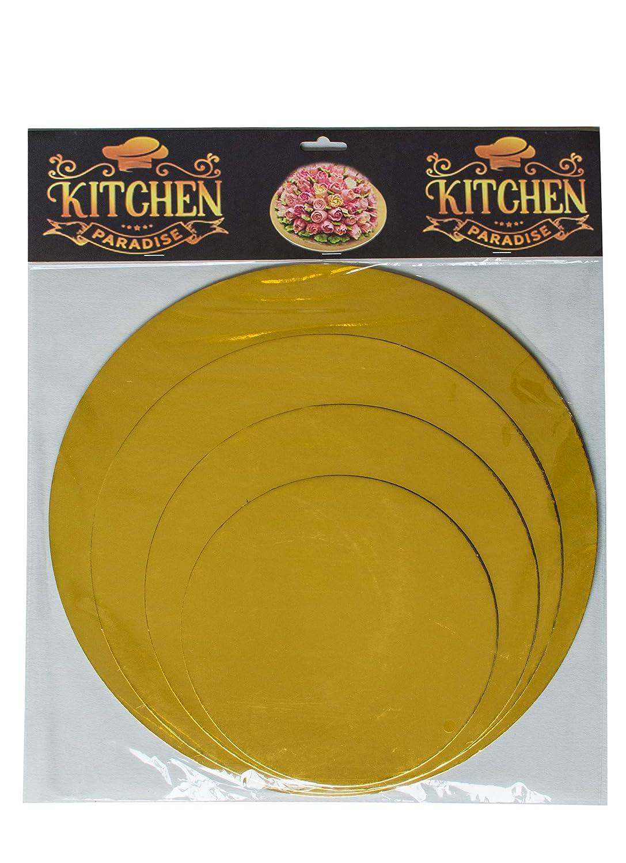 KITCHEN PARADISE Cake Board Rund 4er Set - Ø 20 + 25 + 30 + 35cm - Kuchenplatte Tortenunterlage Tortenplatte - Lebensmittelecht | Für Transport und Deko