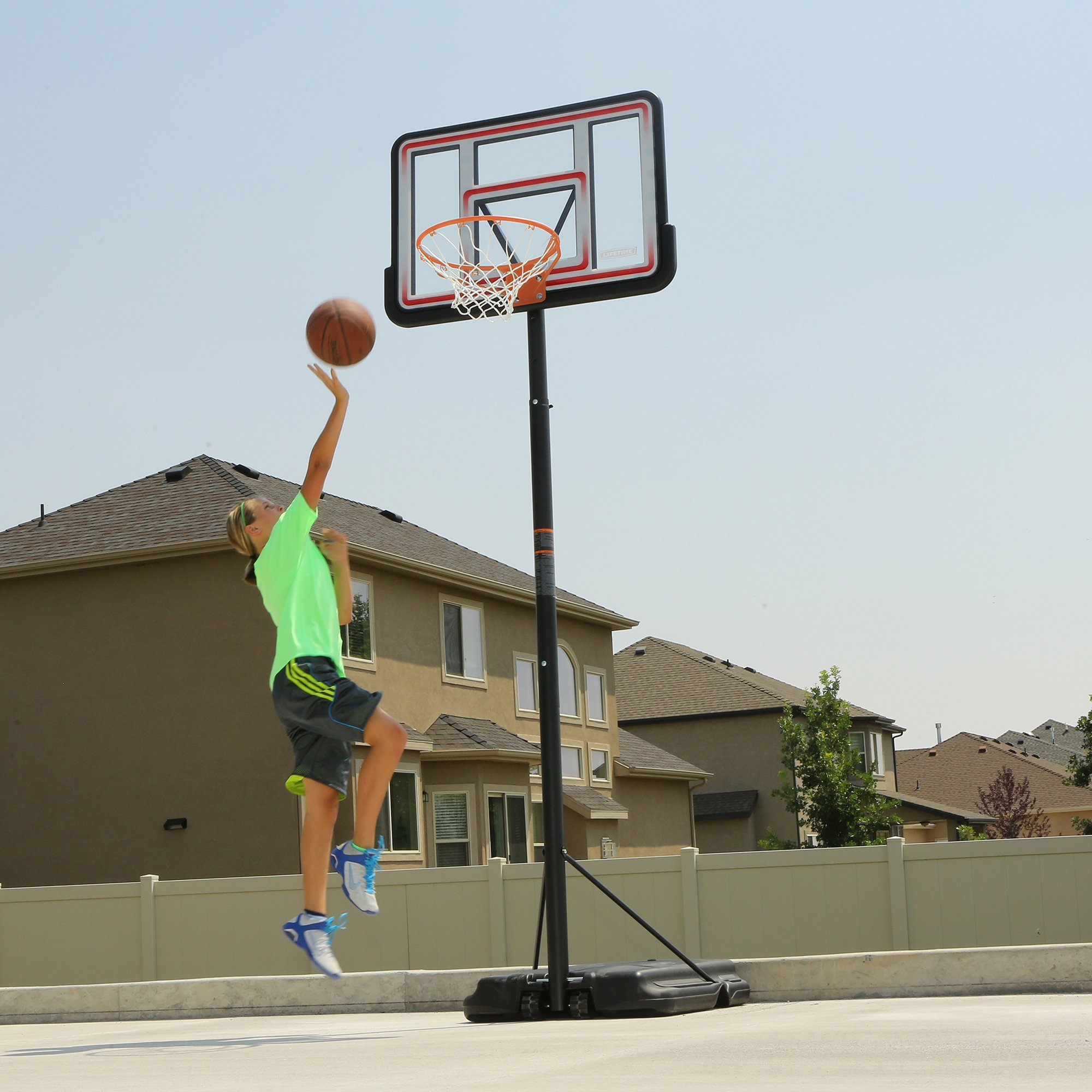 Lifetime 1269 Pro Court Height Adjustable Portable Basketball System, 44 Inch Backboard by Lifetime (Image #7)