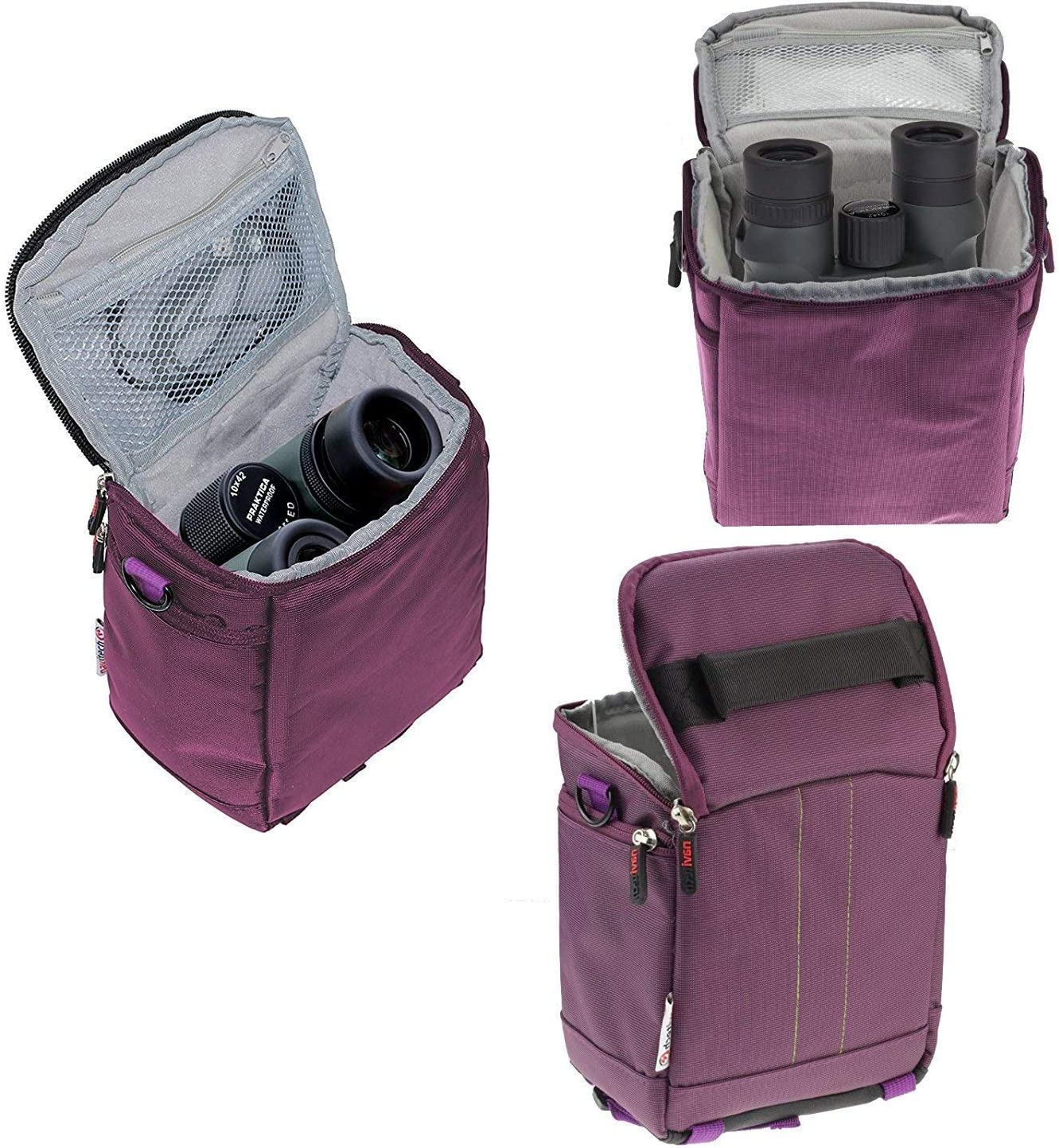 Navitech Purple Protective Portable Handheld Binocular Case and Travel Bag Compatible with The Leica Geovid 10 x 42 HD-B 3000