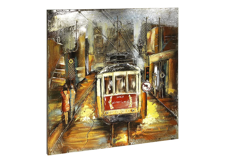 Kobolo Metall-Wandbild Tram in 3D-Optik Maßen 100x100 cm