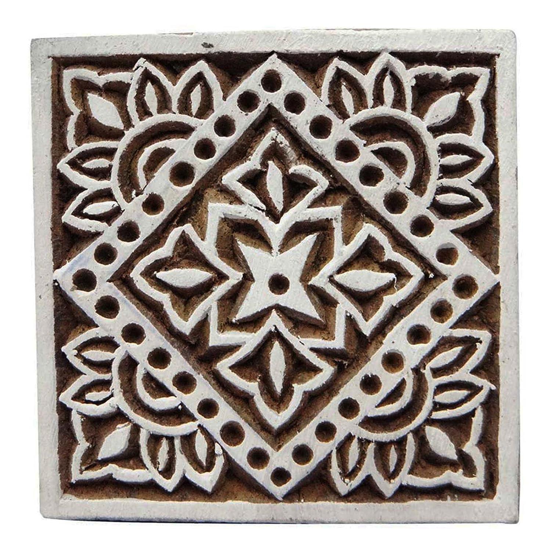 Basteln, Malen & Nähen Floral Hand geschnitzte Quadrat Drucktype Holz Briefmarken Blockprint-Größe wählen Zubehör
