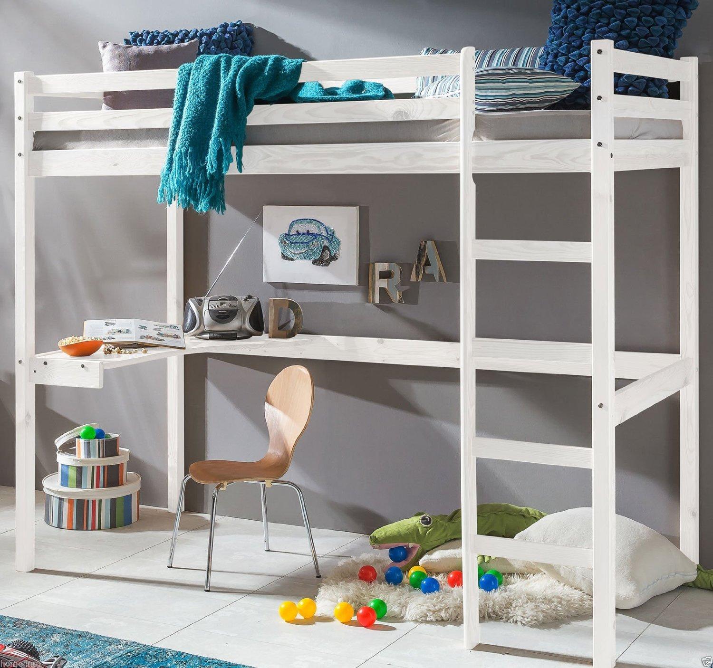 Kinderbett Hochbett DENNIS Etagenbett mit Schreibtisch massiver ...