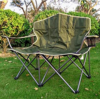 Portable Double Camping Chairs with Cup Holder, Green Outdoor Beach Lounge Chaise Folding Chair, 200kg