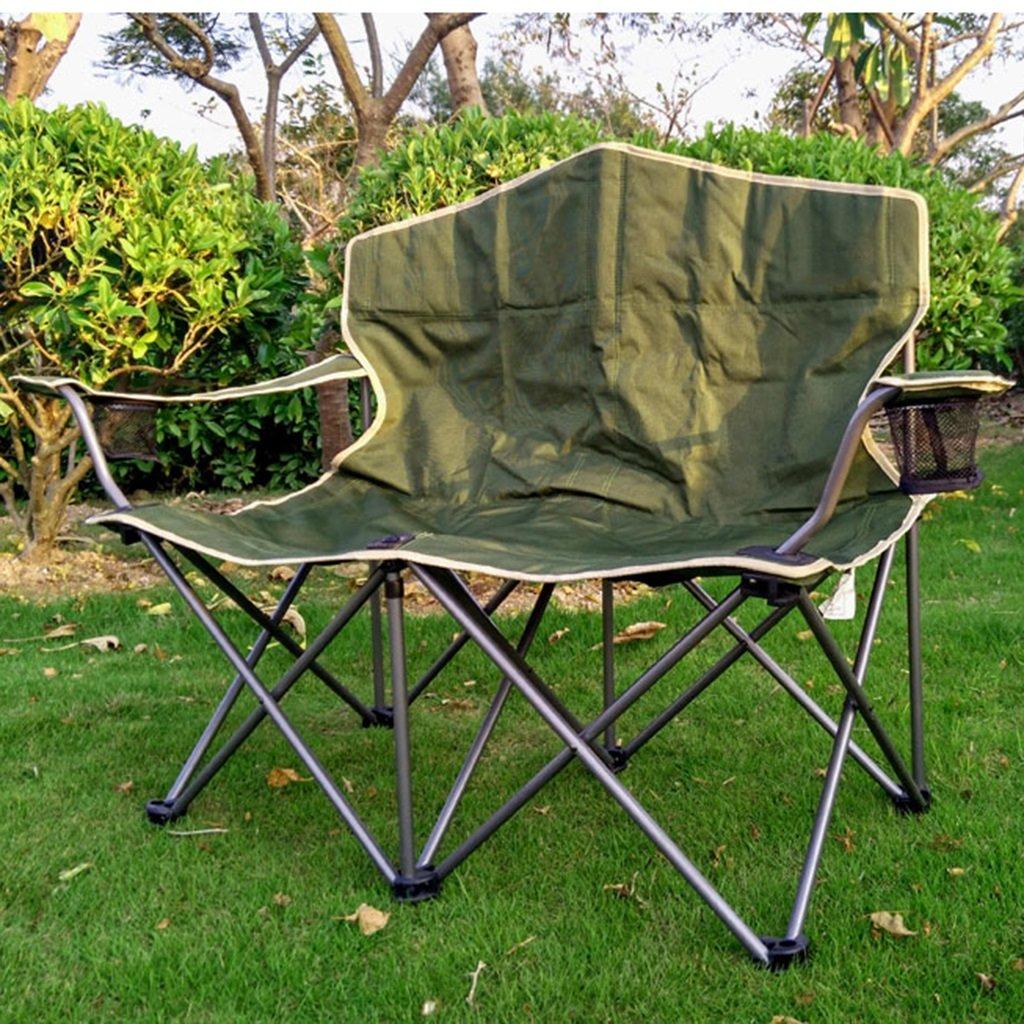 Klappstuhl Tragbare Doppelte Kampierende Stühle Mit Getränkehalter, Grüner Strand-Aufenthaltsraum-Liegeplatz, 200kg