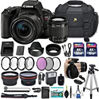 "Canon EOS Rebel SL2 DSLR Camera with EF-S 18-55mm f/4-5.6 is STM Lens + 2 Memory Cards + 2 Auxiliary Lenses + HD Filters + 50"" Tripod + Premium Accessories Bundle (24 Items)"