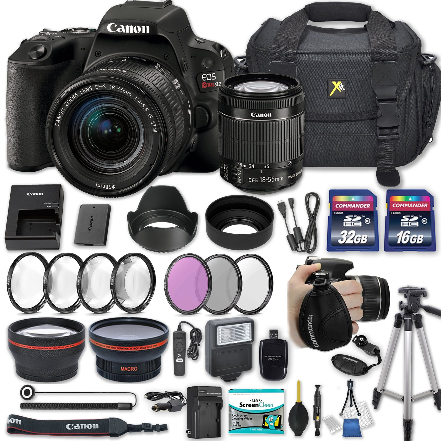Canon EOS Rebel SL2 DSLR Camera with EF-S 18-55mm f/4-5.6 IS STM Lens + 2 Memory Cards + 2 Auxiliary Lenses + HD Filters + 50'' Tripod + Premium Accessories Bundle (24 Items) by Canon