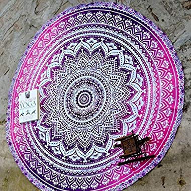 Jaipur Handloom Round Tapestry Indian Mandala Round Roundie Beach Throw Tapestry Wall Hanging Hippy Boho Gypsy Cotton Tablecloth, Round Yoga Sheet 70  Pink