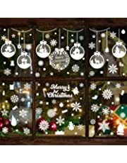WATINC 361Pcs 12 Sheets Christmas Snowflakes Static Window Clings Set Cute Santa Claus Snowman Decal Stickers Reusable PVC Glass Wall Stickers for Christmas Party Home Window Decoration