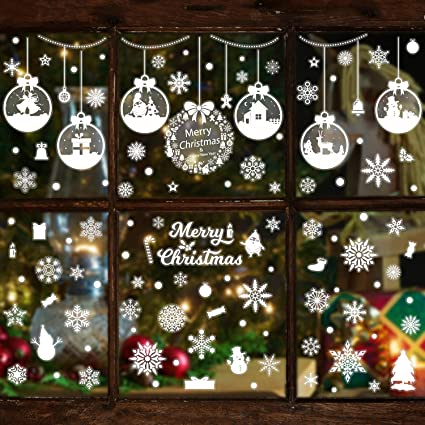 ICE GLITTER WINDOW CLINGS SNOW STICKERS CHRISTMAS DECORATIONS
