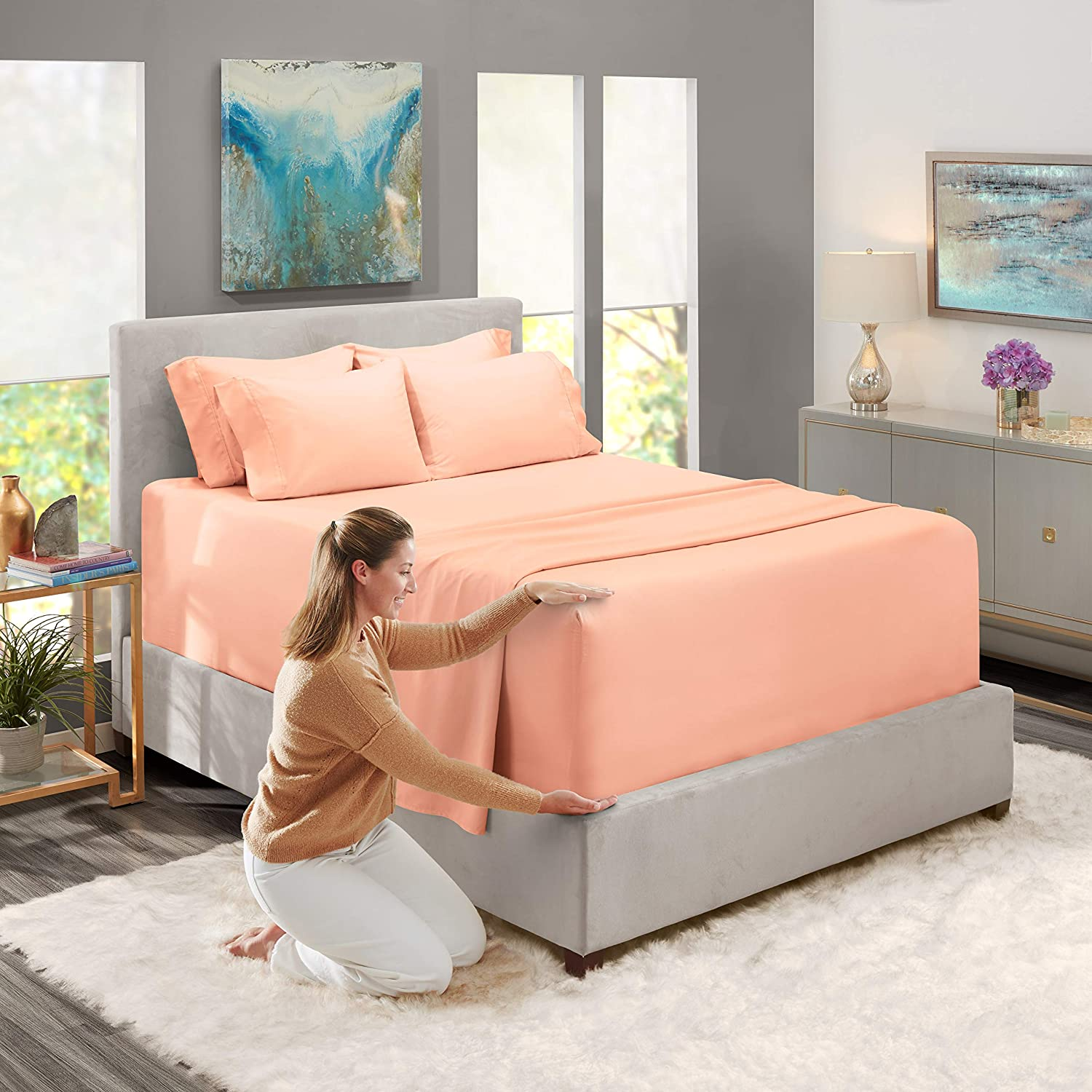 Peach. Super Deep Pocket Sheets- 39 in x 80 in Deep Pocket Fitted Sheet Set 4pc Nestl Bedding Extra Deep Pocket Sheets Twin XL Sized Deep Bed Sheet Set