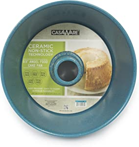casaWare Angel Food Cake Pan 9.5-inch (15-Cup) Ceramic Coated NonStick (Blue - Granite)