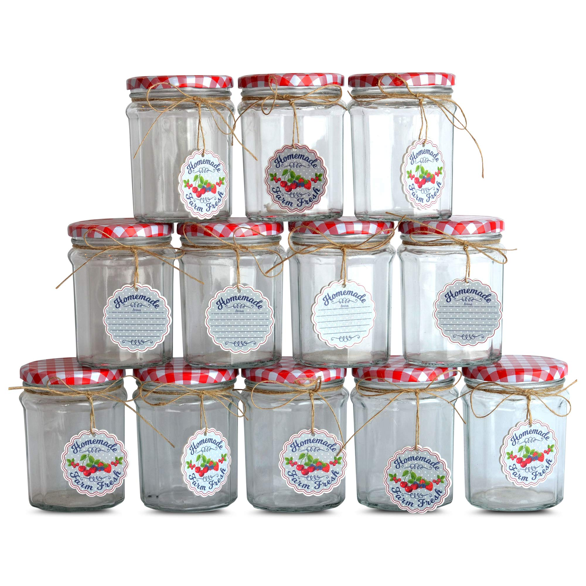 Farmer's Market Jelly Jars, Set of 12, Gift Tags, Twine, Red and White Gingham Screw Tops, 3 1/4 Diameter x 4 1/2 Tall Inches, Classic Faceted Canning Mason Glass, Food Safe, by WHW