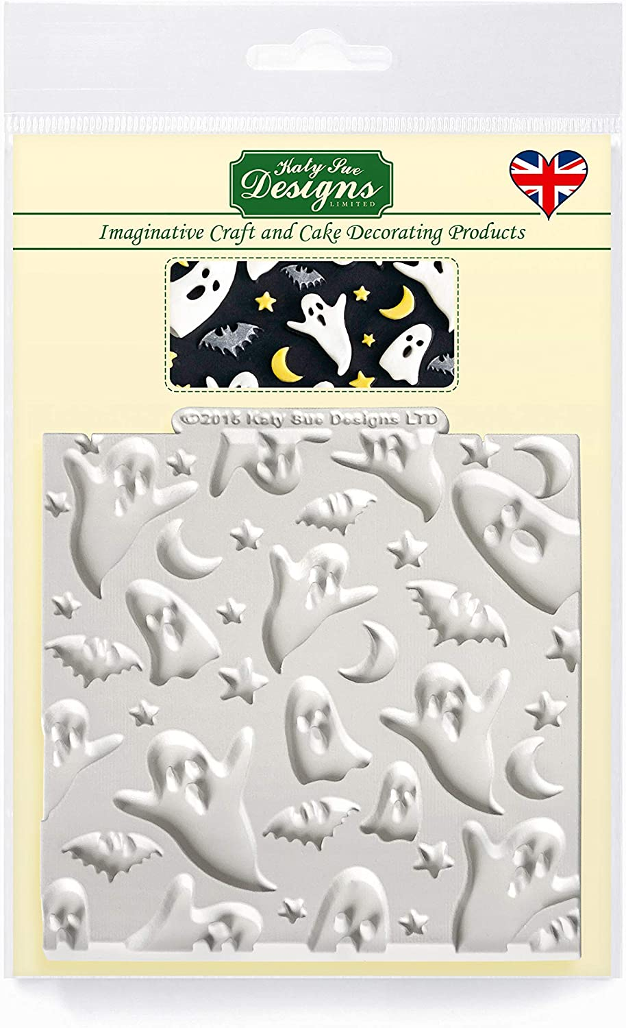 Ghosts Silicone Mold for Cake Decorating, Crafts, Cupcakes, Sugarcraft, Candies, Chocolate, Card Making and Clay, Food Safe Approved, Made in the UK