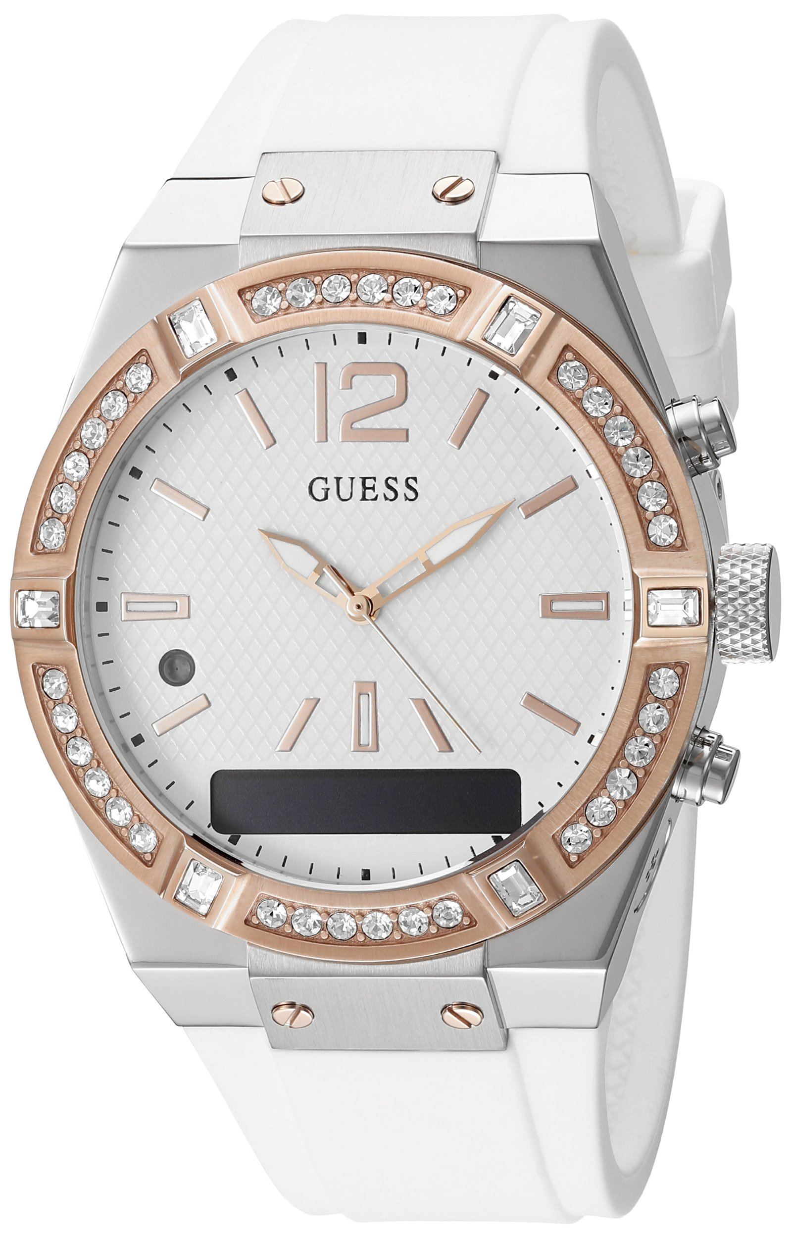 GUESS Women's CONNECT Smartwatch with Amazon Alexa and Silicone Strap Buckle - iOS and Android Compatible - White by GUESS