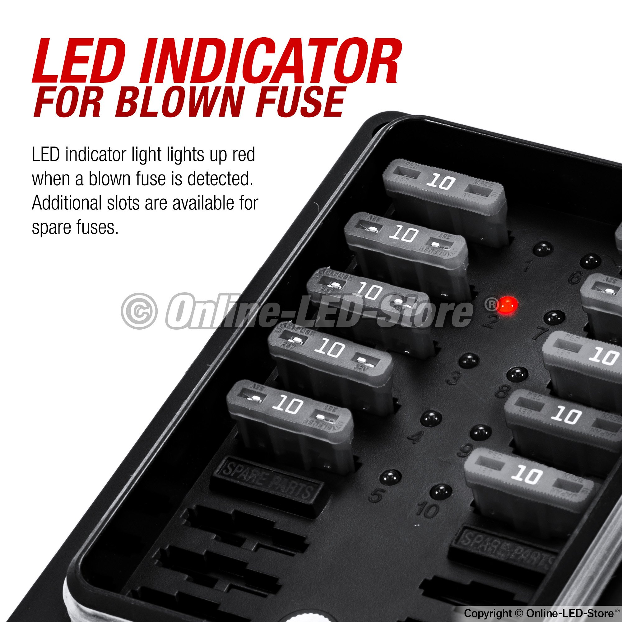 Online Led Store Waterproof Blade Fuse Box Ip56 Indicator 12v 1 X 4 Way Holder For Blown Protection Cover 250 Amp Block Automotive Marine Boats
